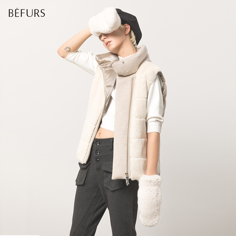 Befurs monologue collection 2019 autumn winter new simple fashion cashmere mash-up mink fur vest short