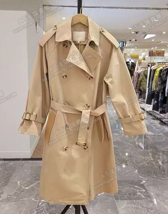 Maje 21 spring summer shoulder 繫 belt loose medium-length version windcoat jacket female MFPOU00546