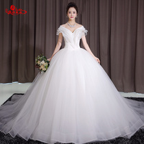 White princess with a trailing shoulder and thin court puff skirt