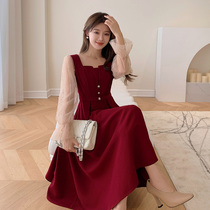Blue language large size womens fat sister mm temperament square collar red a dress 2021 early autumn new fairy dress