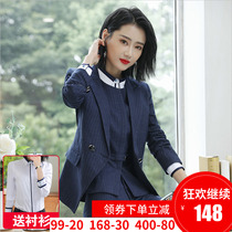 Striped Suit jacket Female 2018 new interview professional dress clothes black formal suit small suit autumn and winter