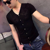 Summer men breathable ice wire hollow V collar slim knitting T-shirt