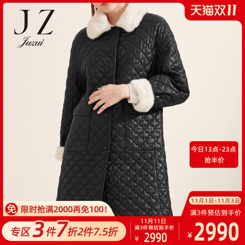 JUZUIs official flagship store 2020 winter new sheepskin mink fur collar womens fur coat cotton clothing