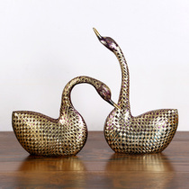 Color couple Swan Pakistani bronze animal 16 inch imported handmade art copper decoration decoration