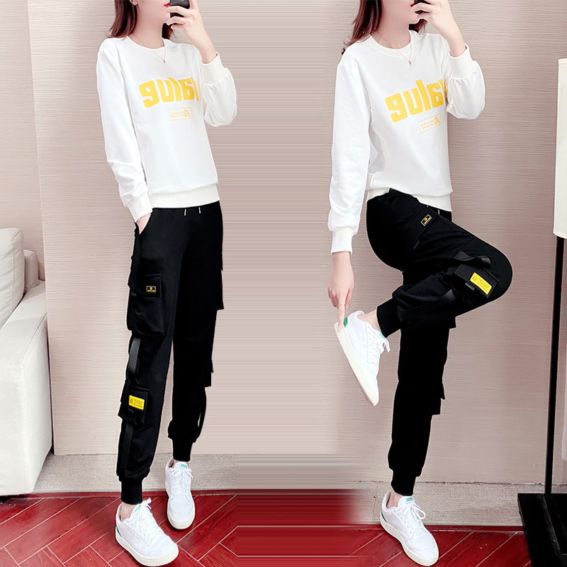 Sports suit womens 2020 new fashion trendy brand workwear pants casual loose plus velvet two-piece set winter