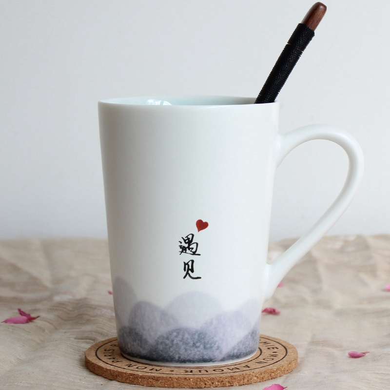 Jingdezhen Cup Men's Mark Cup Customized Logo Simple Water Cup Ceramic Cup with Cover and Spoon Literary Tea Cup Engraving