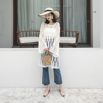 Spring Summer sleeve head Han Edition High waist was thin hole knit sweater