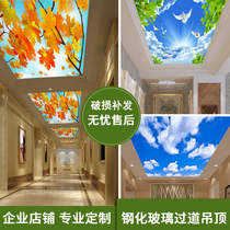 Art Glass ceiling smallpox decoration channel special corridor aisle living room transmittance ice crystal natural landscape painting