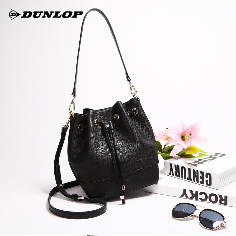 Dunlop women's bag bucket bag female 2018 new autumn and winter leather first layer cowhide large capacity shoulder Messenger bag