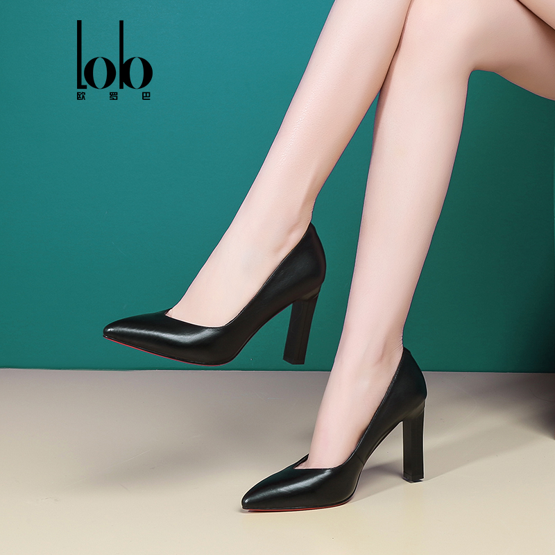 Eurobarry leather shoes, European and American pointed glamour, V-bank high heel shoes, black fetal cowhide shoes, women's shoes