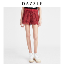 DAZZLE to sue 2019 summer new retro tooling elements lace casual shorts female 2G2Q1117K