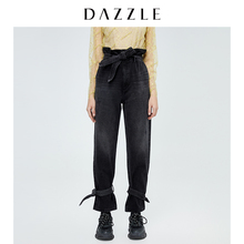 Dazzle Disu 2020 spring new black wash all cotton tie mouth horseshoe jeans for women 2c1r6091a