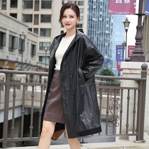 Europe and the United States fashion street fan atmospheric hooded long section head layer cowhide loose windbreaker warm windproof cowhide coat women