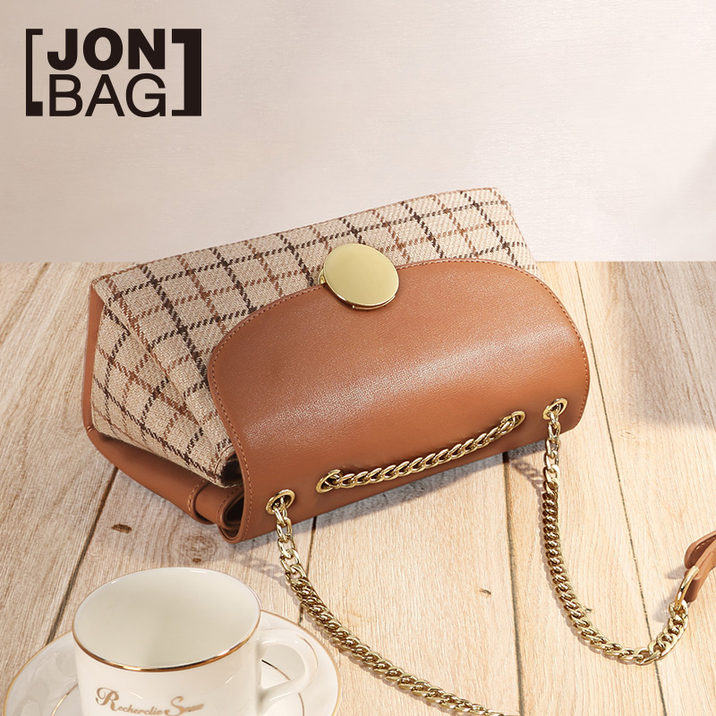 Hong Kong style retro chain small bag 2018 new wave Korean version of the wild single shoulder slung chic girl bag plaid cloth