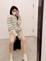 Wenwen French Acne Studios 21 autumn and winter color stripe smiley face round neck knitted sheep sweater men and women