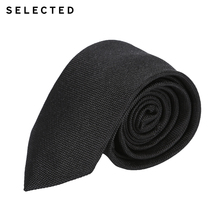 SELECTED Slade new men's pure black black silk necktie A41831T514