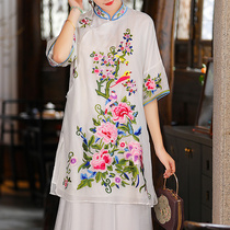 Tang dress womens summer dress Chinese style womens tea dress National style large size long style Chinese plate buckle vintage cheongsam top
