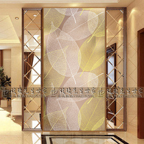 Home furnishings Steel Art glass modern simple living room primer screen partition wall shoe cabinet Xuan sand grinding gold leaves