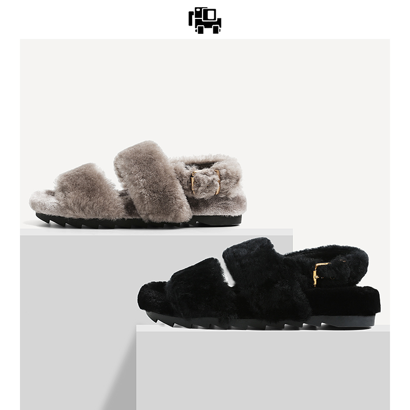 2018 autumn and winter new Korean version of the open toe fur sandals women's fashion wild flat buckle buckle wool hair women's shoes ins