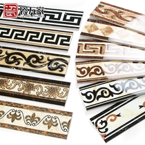 Microcrystalline wave wire European parquet living room floor tiles tile edge aisle waist line gold-plated wave line tiles