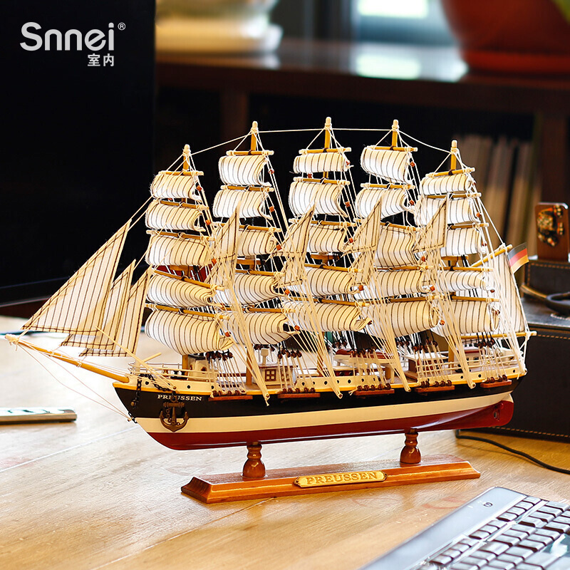 Mediterranean Style Sailing Model Decorative Arrangement Prussia No.1 Sailing Smooth Simulated Solid Wood Craft Ship