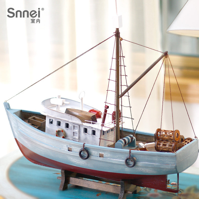 Snnei Simulated Fishing Vessel Model Arrangement Mediterranean Style Solid Wood Craft Vessel Model Boat