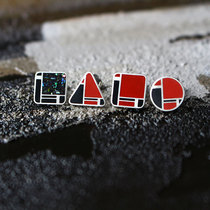 Designer Brand Mondrian original Sterling silver Lacquer Luodian Extremely simple earrings temperament personality literary Jewelry