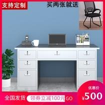 304 stainless steel desk thickened computer desk with drawer Work desk Home cash register study desk