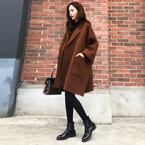 Anti-season double-sided cashmere coat women 2021 new autumn and winter long loose cocoon wool jacket small man