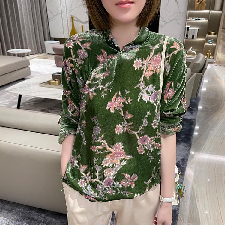 Love nameless like oil painting spring silk velvet burning flower flocking shirt New Chinese top