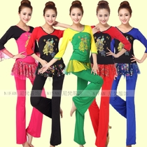New spring and Summer Plaza dance clothing set old-aged top short-sleeved dance suit larger code LXXXL