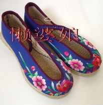Hot selling pure handmade embroidered shoes handmade thousand layers of the bottom of the old-fashioned shallow round head cloth shoes Lovebirds