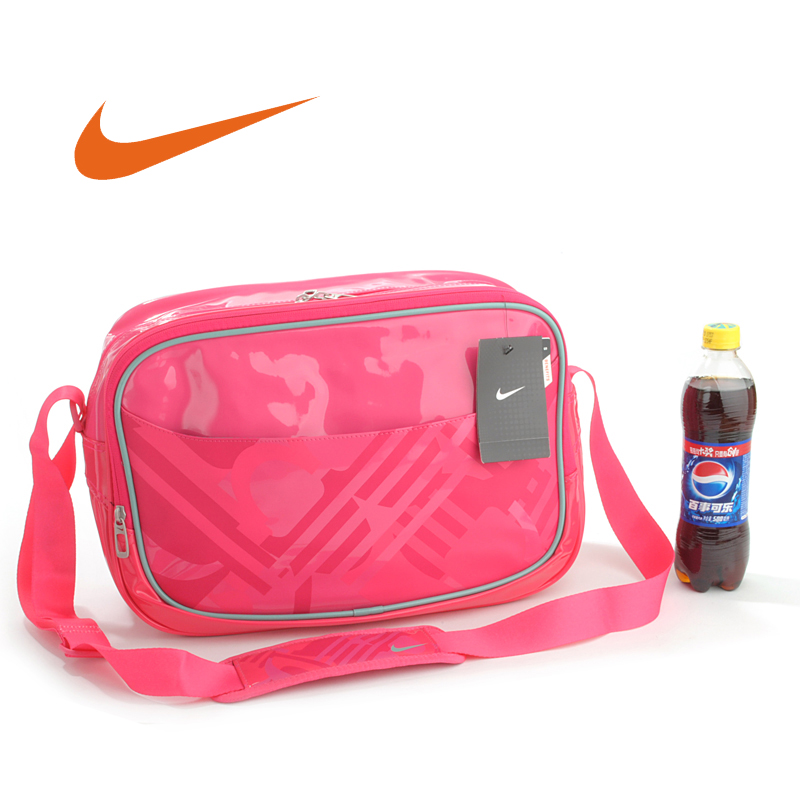 Genuine NIKE/Nike Women's Leisure Bag Single Shoulder Bag Lady's Hand-held Lacquer Leather Skew Bag with Large Capacity