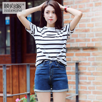 Slim shorts denim shorts girl Korean version packs hip waist student summer wild stretch hot pants shorts