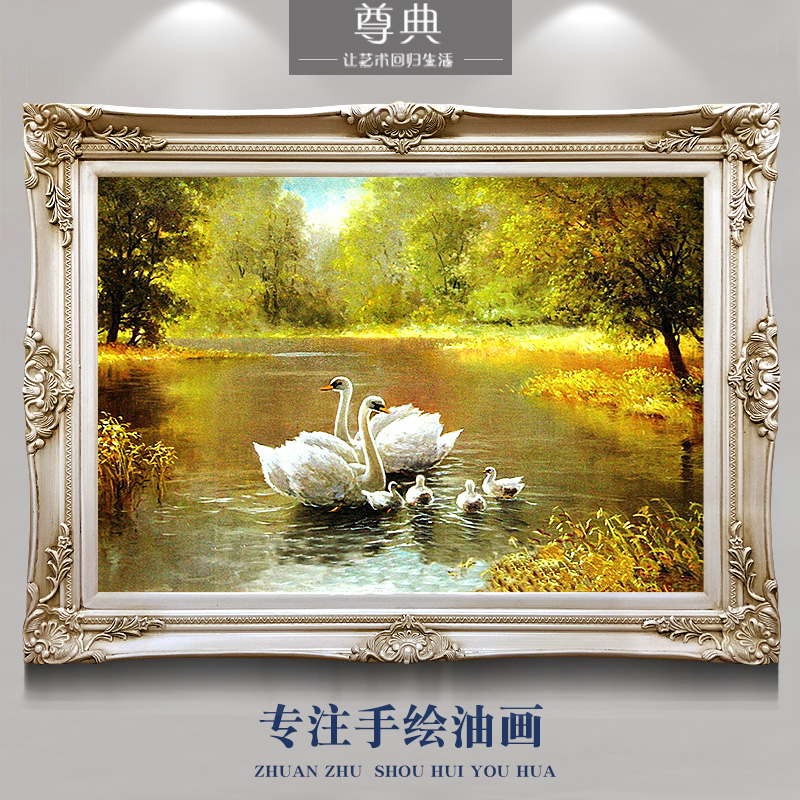 Hand-painted European-style living room restaurant porch landscape oil painting decoration customized Swan Lake animal fireplace hanging horizontal plate
