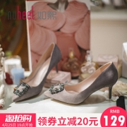 Such as the city of spring and summer, the new round of the side of the high-heeled shoes heel shoes and shoes with a single shoe with a small mouth