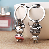 Beach Bear couple keychain a pair of men and women car key chain pendant remote key ring creative personality Design