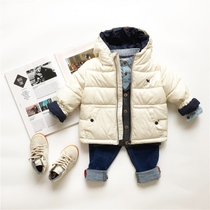 Childrens winter clothing new baby boy coat thick cotton casual solid color cotton clothing for cotton-padded jacket coat Hoodie