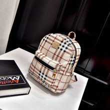 2017 New Cute Plaid mini small backpack shoulder summer fashion leisure bag fresh Korean Pu tide