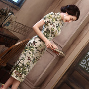 The new spring and summer in the long section of cotton linen dress Vintage cheongsam skirt dress in temperament