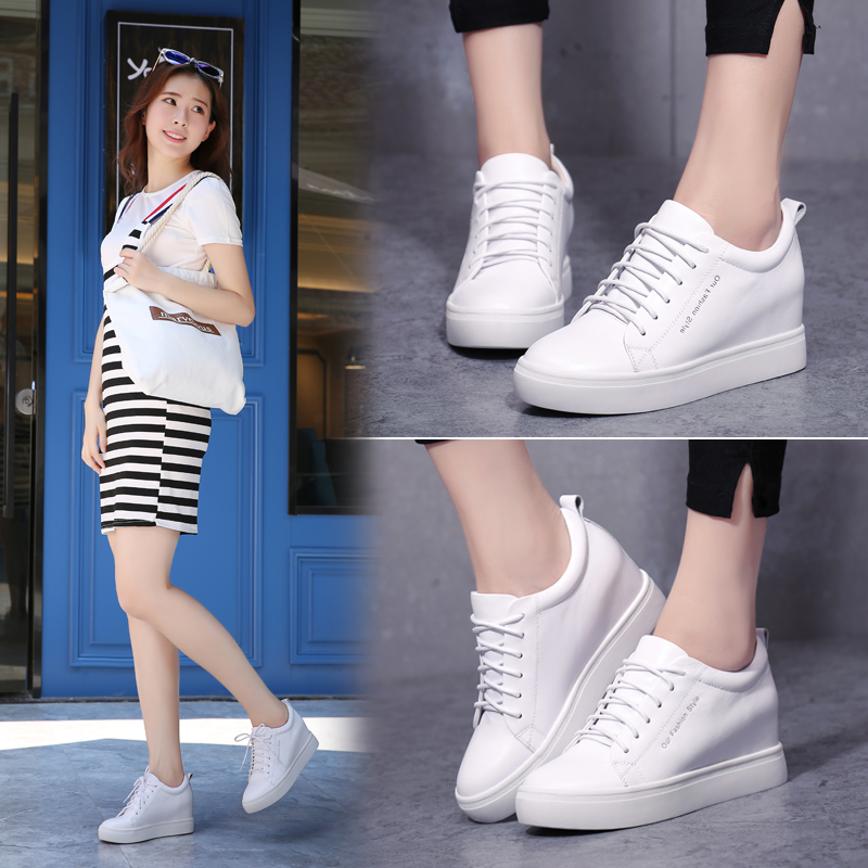 Spring 2019 New Korean Leather Small White Shoes Lace Casual Shoes Increase Women's Shoes Fashionable Single Shoes