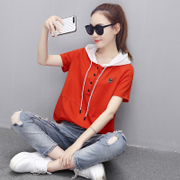 A thin sleeve short sleeved sweater hooded T-shirt 2017 summer new dress Korean students loose jacket tide