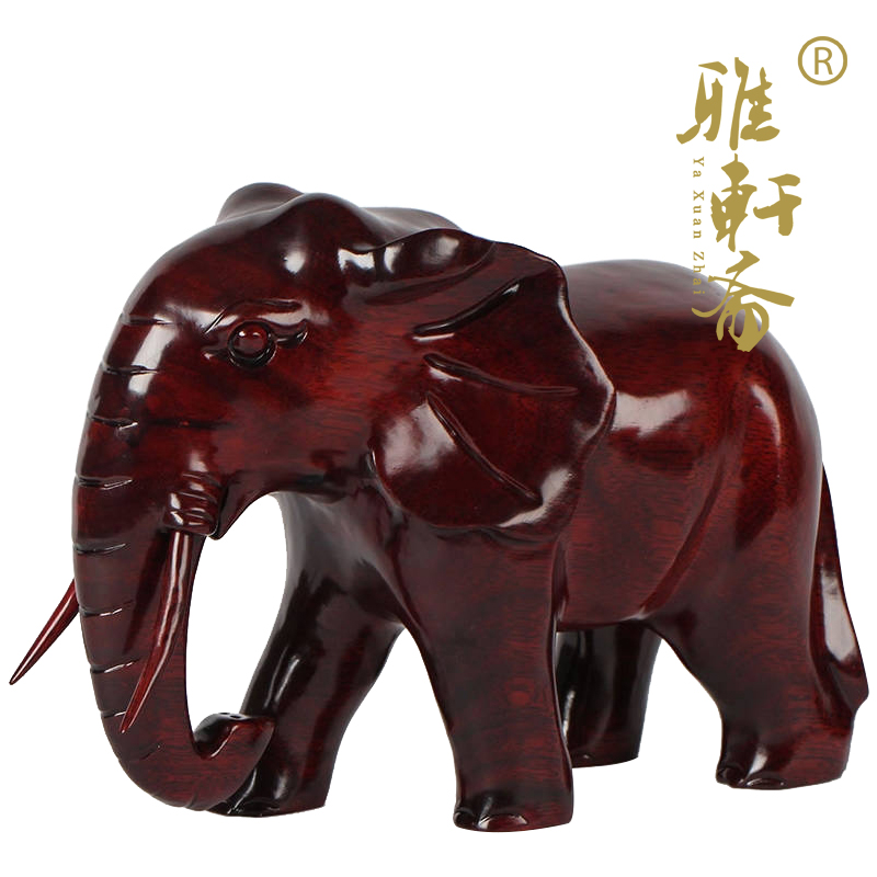 Rosewood Elephant Wood Carving Elephant Home Fengshui Decoration Solid Wood Flower Pear Wood Elephant Lucky Wood Crafts Living Room