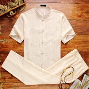Men's costume summer short sleeved linen suit with old clothes grandpa in the elderly Chinese dad summer wind