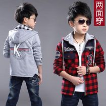 Spring fat 2017 new new childrens sweater Cardigan coat on both sides wear mens casual jackets