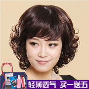 Elderly female short curly hair wig wig set long wig lady vivid female mother long hair wig