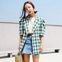 (Spot) Dongdaemun of Korea authentic website explained in vintage Plaid cotton sleeve Blazer