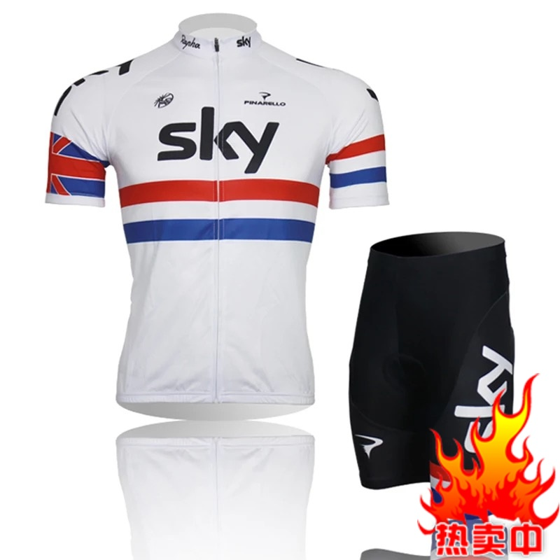 White Sports, Fast Dry Sweat, Summer Mountain Self-propelled Single Team Equipped with Short-sleeved Cycling Suit for Men and Women