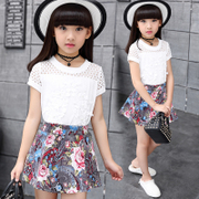 The child's summer 2017 new girls skirt suit children two piece short sleeved casual suit in summer