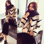 2016 new winter warm stripe thickening set head imitation fur coat jacket sweater furry hair female tide